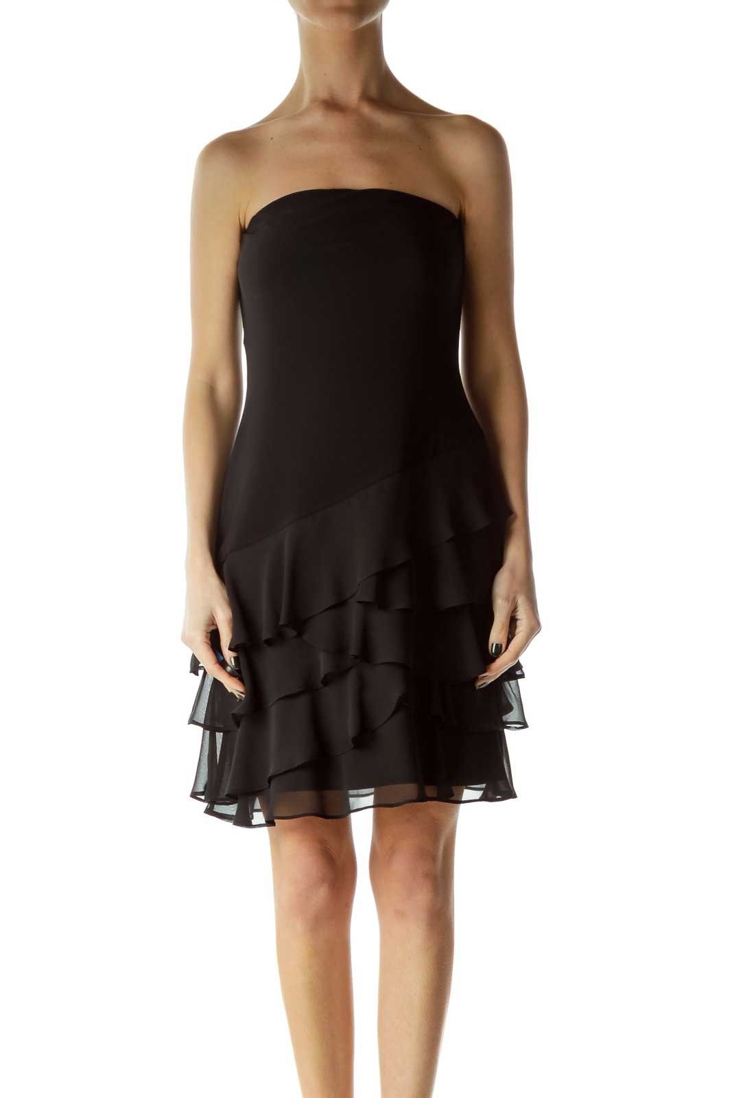 Black Strapless Ruffled Dress
