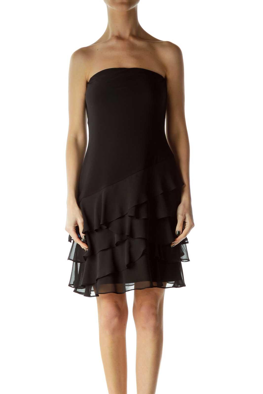 Black Strapless Ruffled Dress