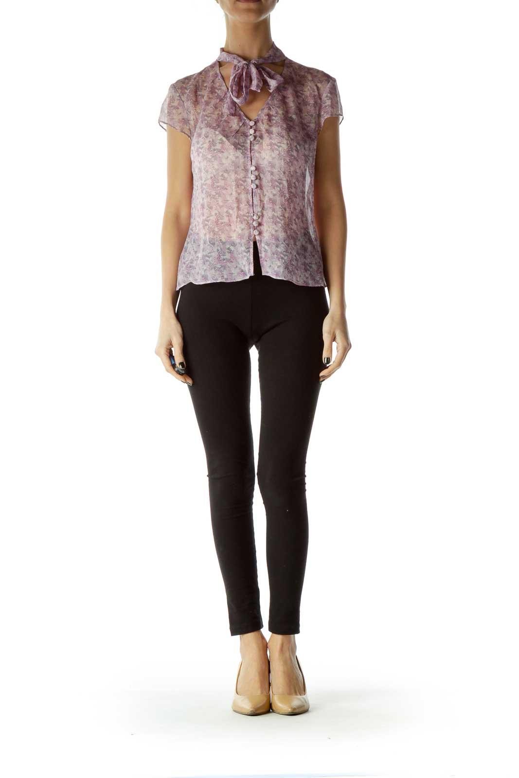 Purple Print Silk Sheer Blouse