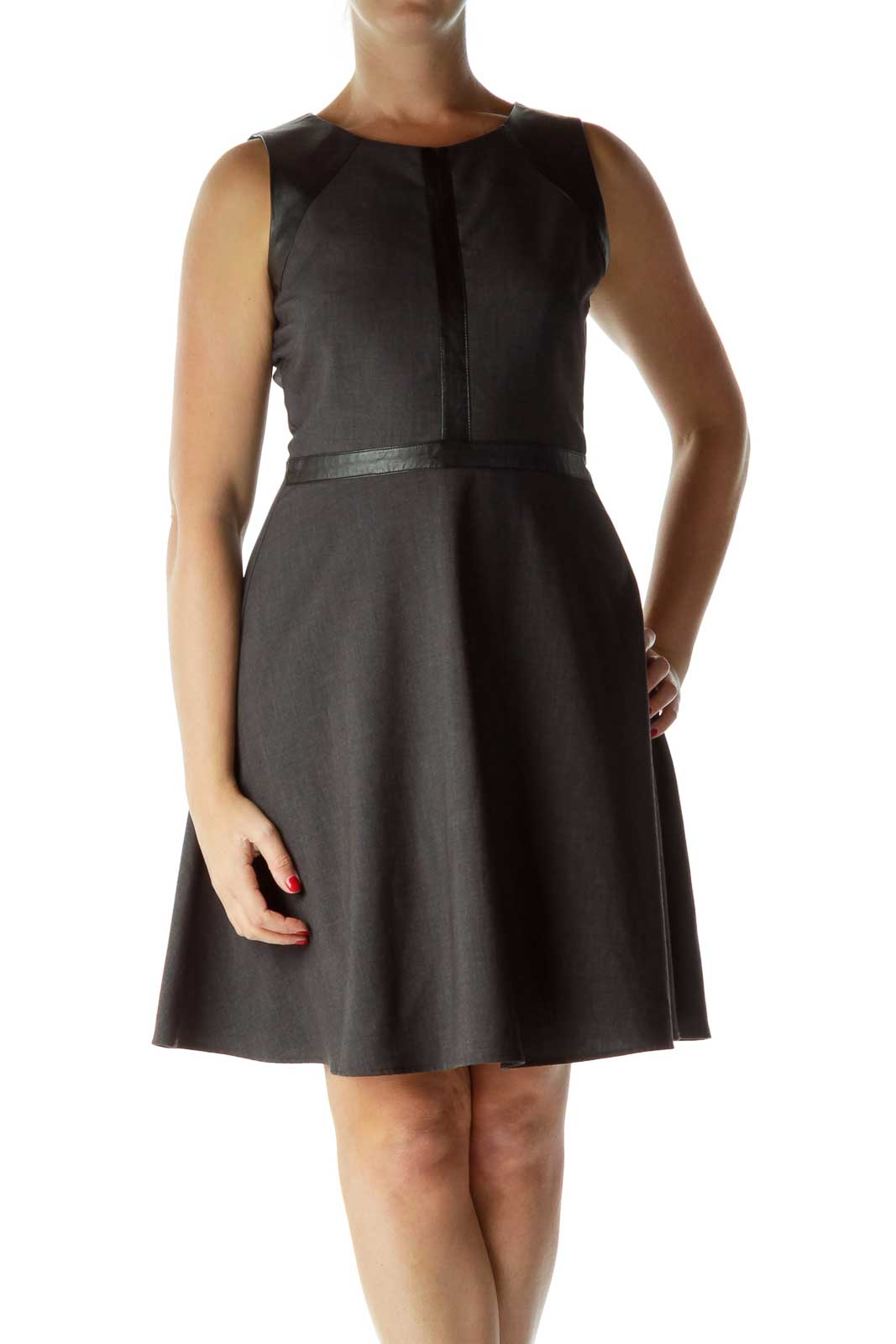Gray Black Faux Leather Detail Work Dress
