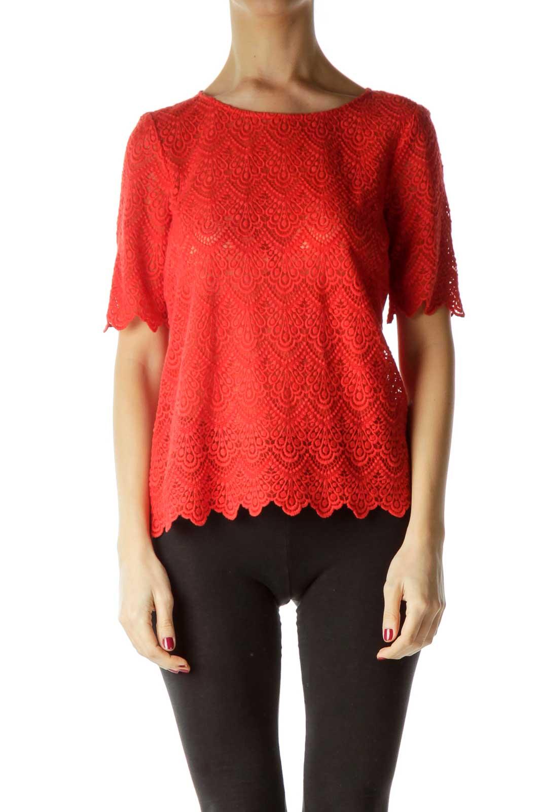Orange Lace Short Sleeve Top
