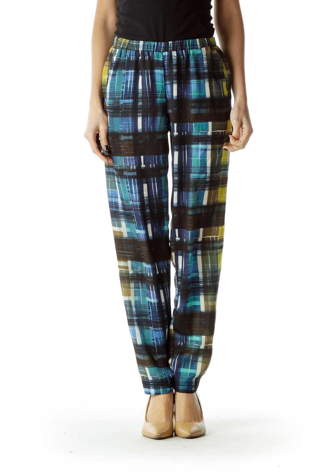 Navy Green Print Soft Pant
