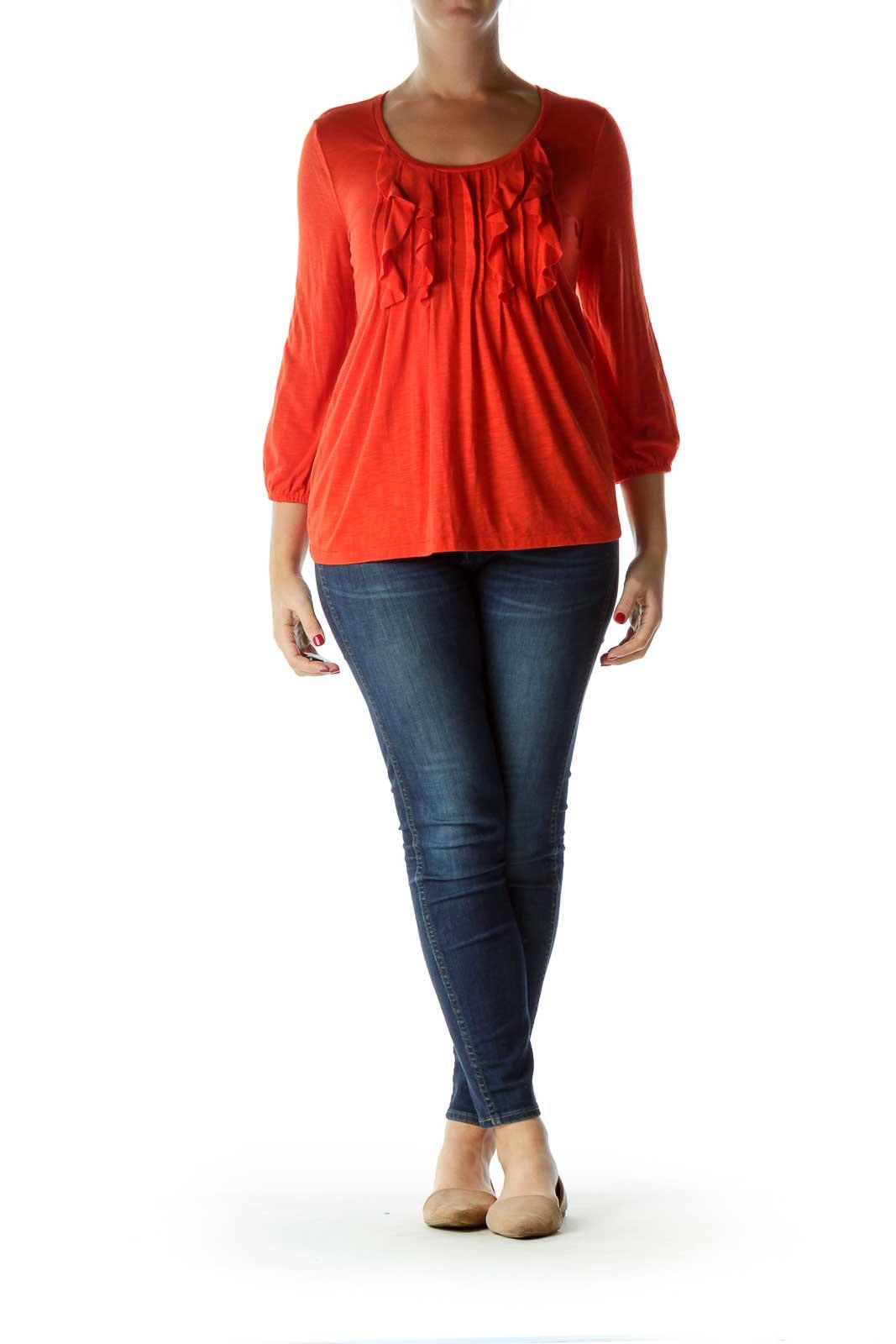 Orange Ruffled 3/4 Sleeve Top