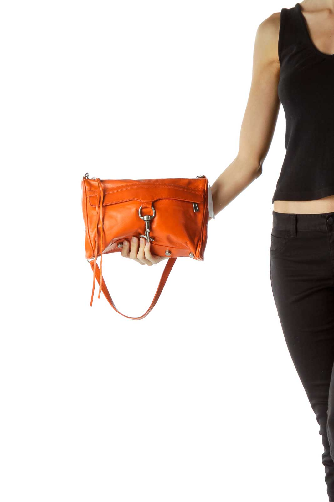 Orange Chain Strap Shoulder Bag