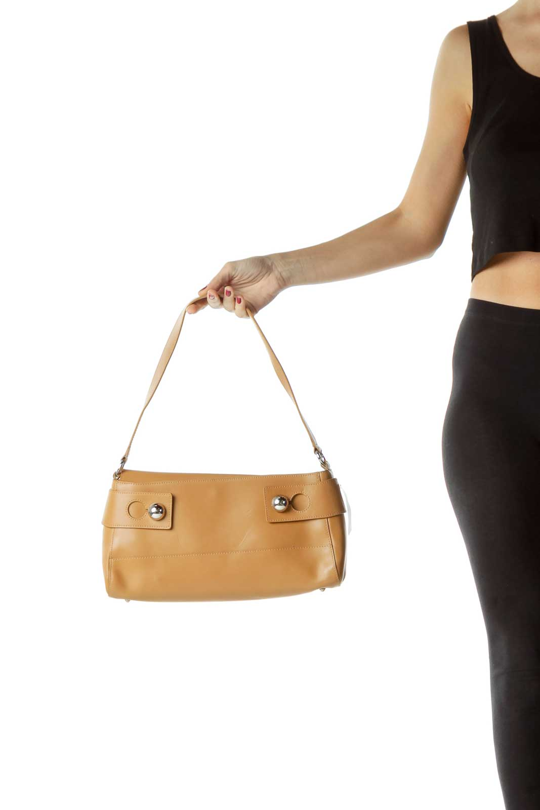 Beige Buckle Detail Leather Shoulder Bag