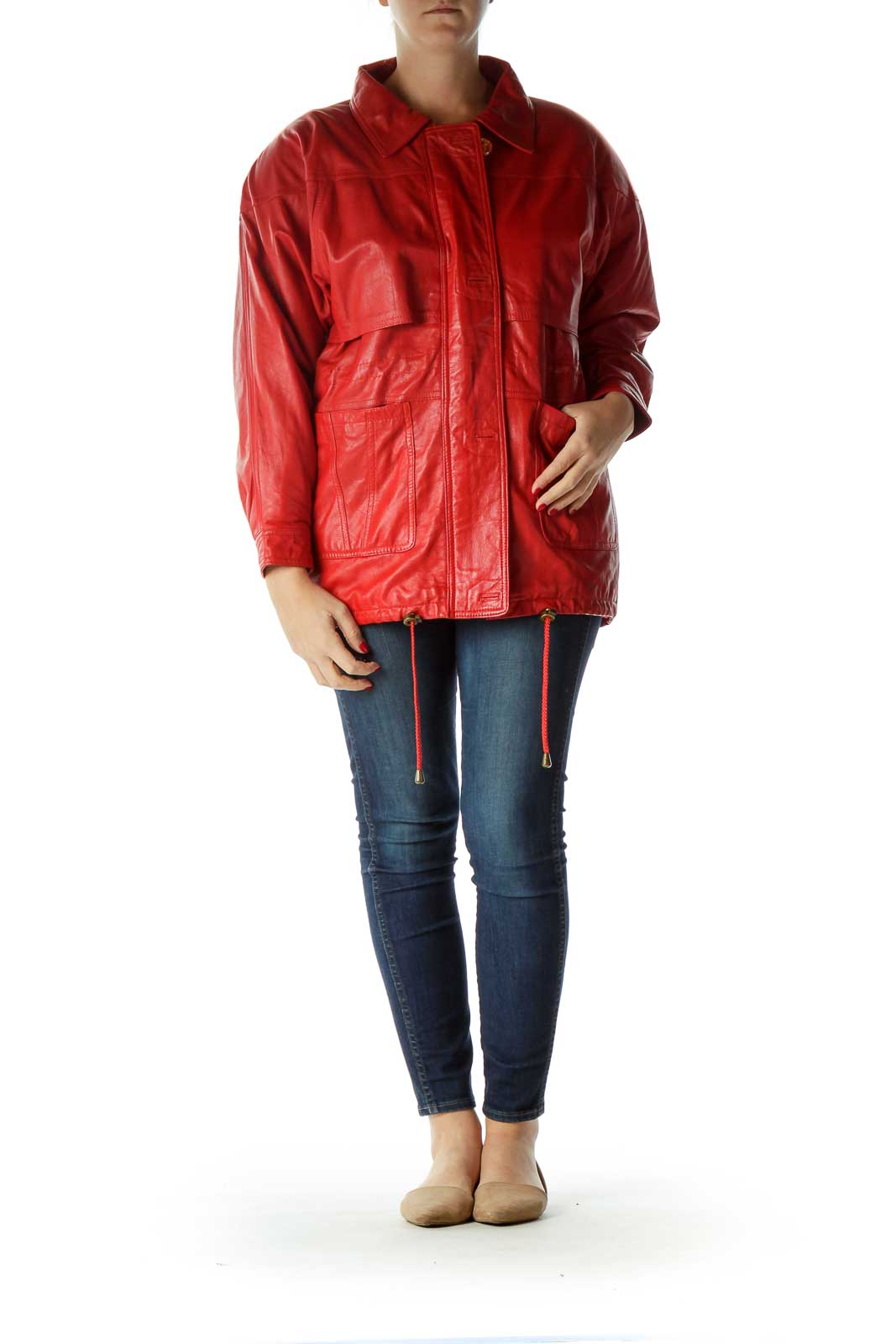 Red Oversized Leather Jacket
