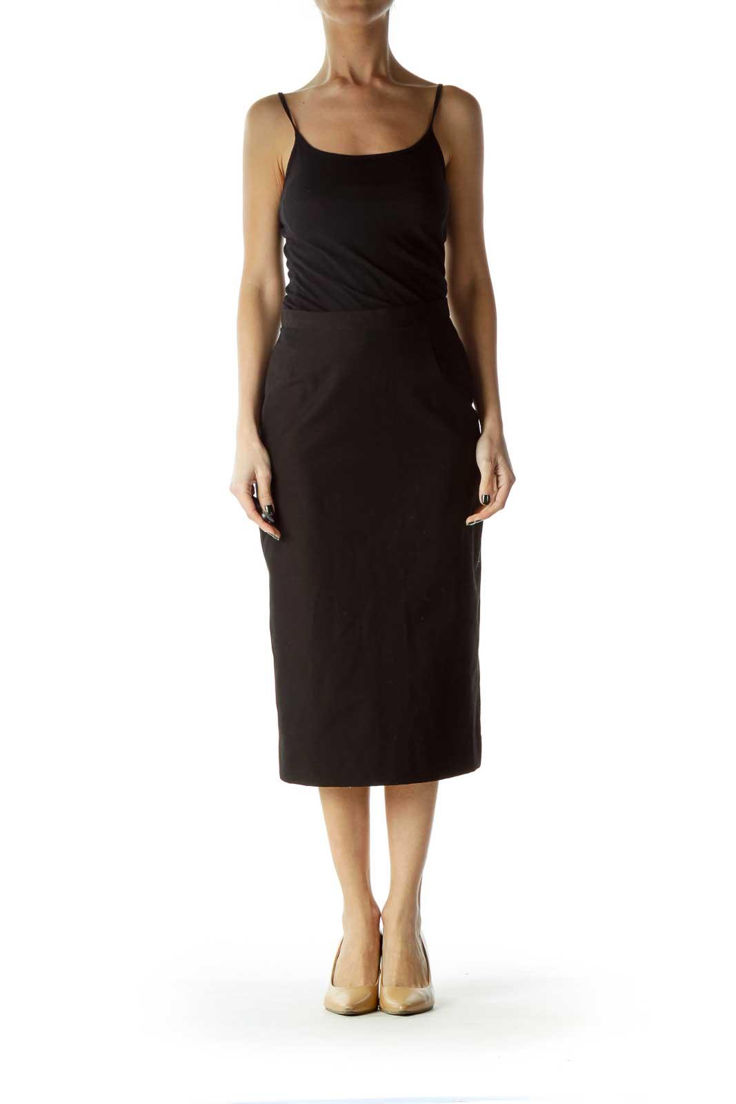 Black Fitted Midi Skirt