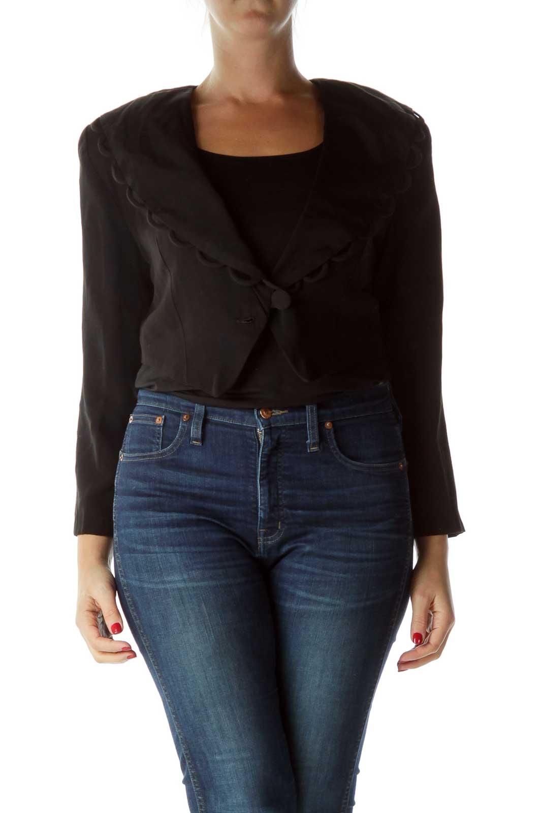 Black Cropped Jacket with Shoulder Pads
