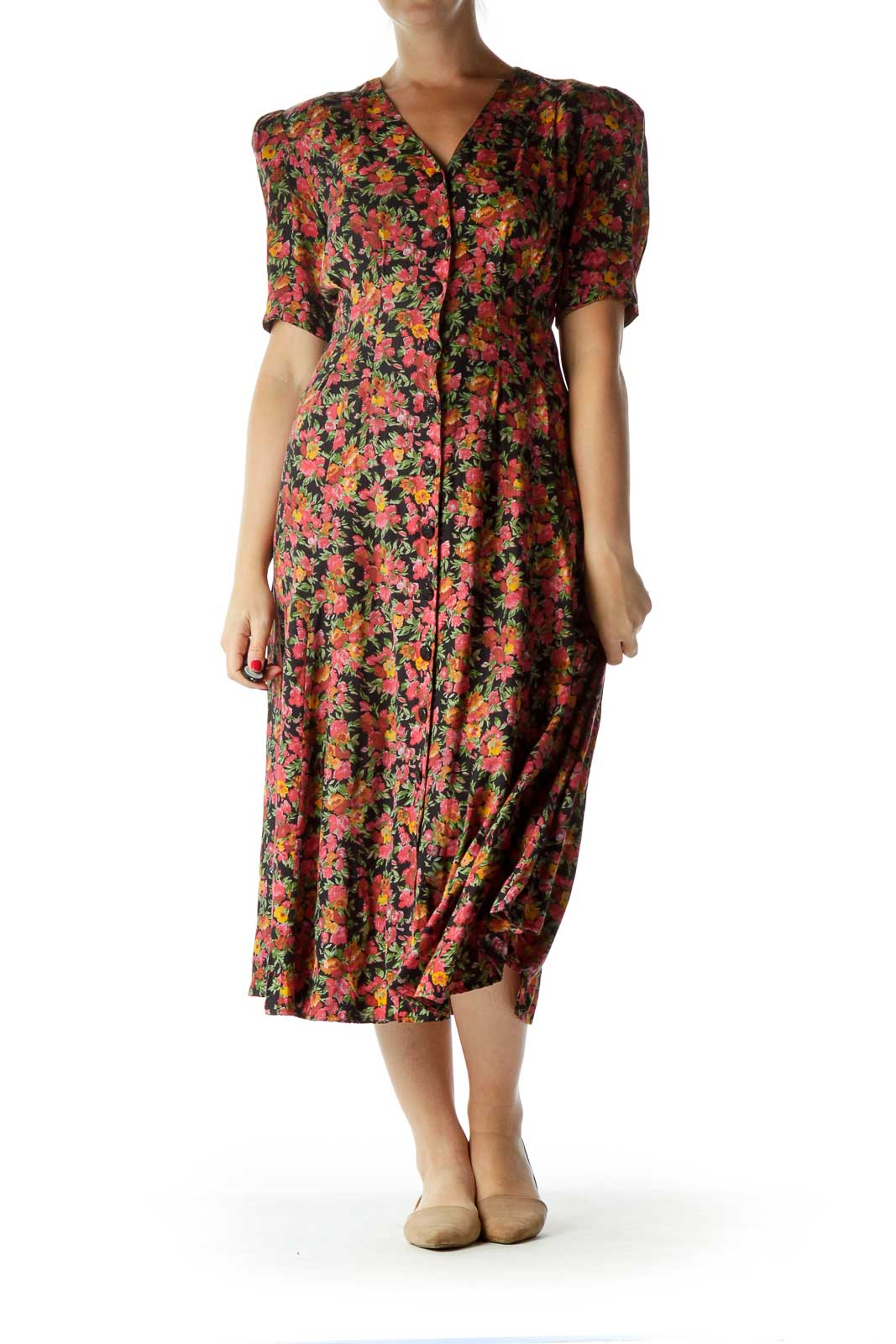 Pink Vintage Floral Buttoned Day Dress