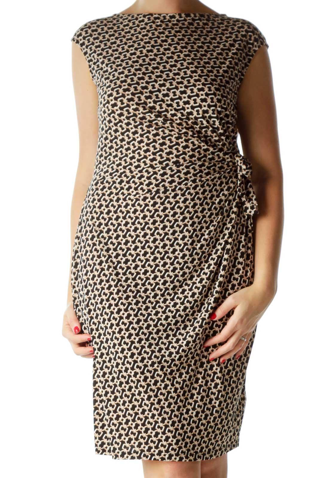 Black Brown Boat Neck Chain Print Dress
