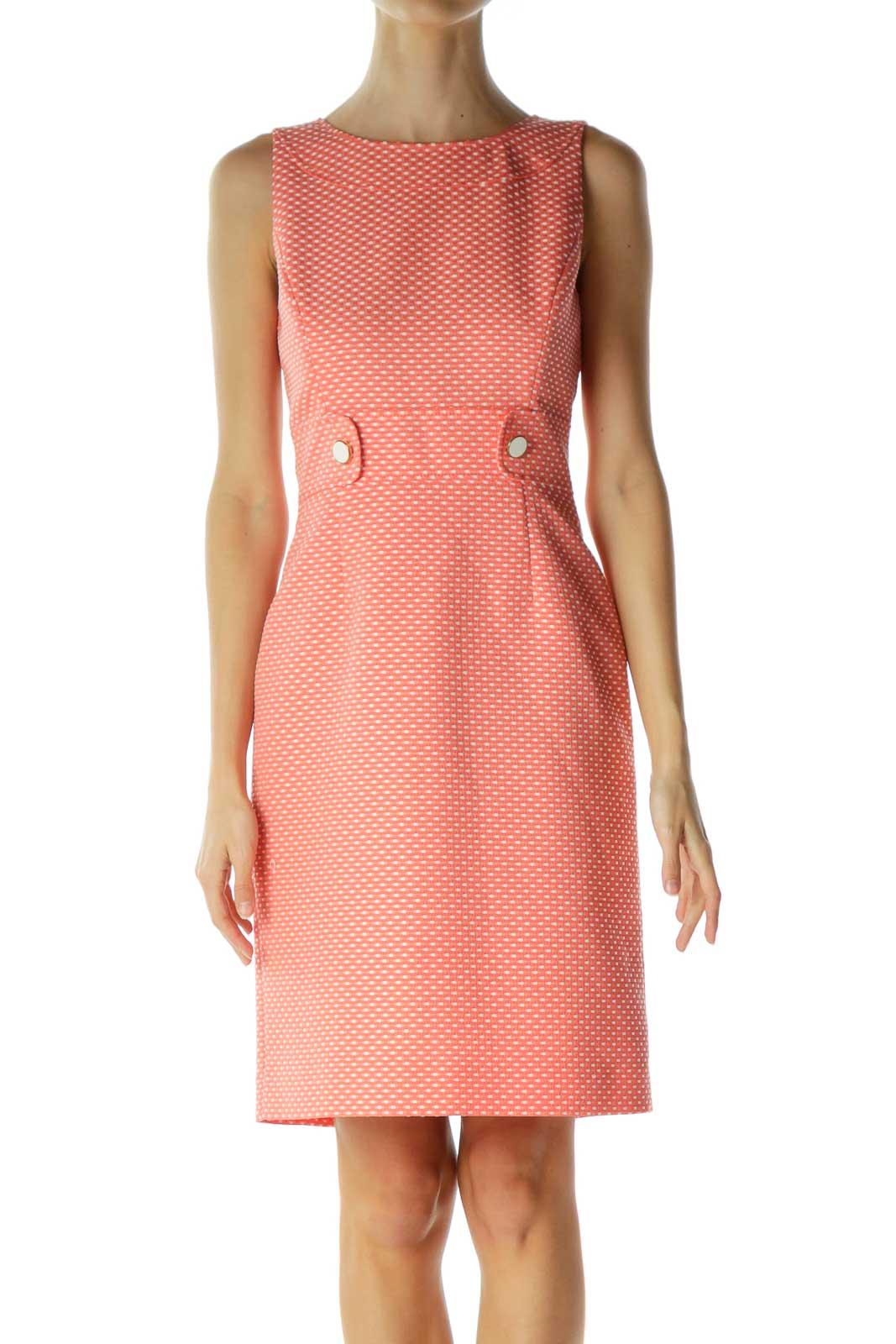 Orange White Stitch Print Work Dress