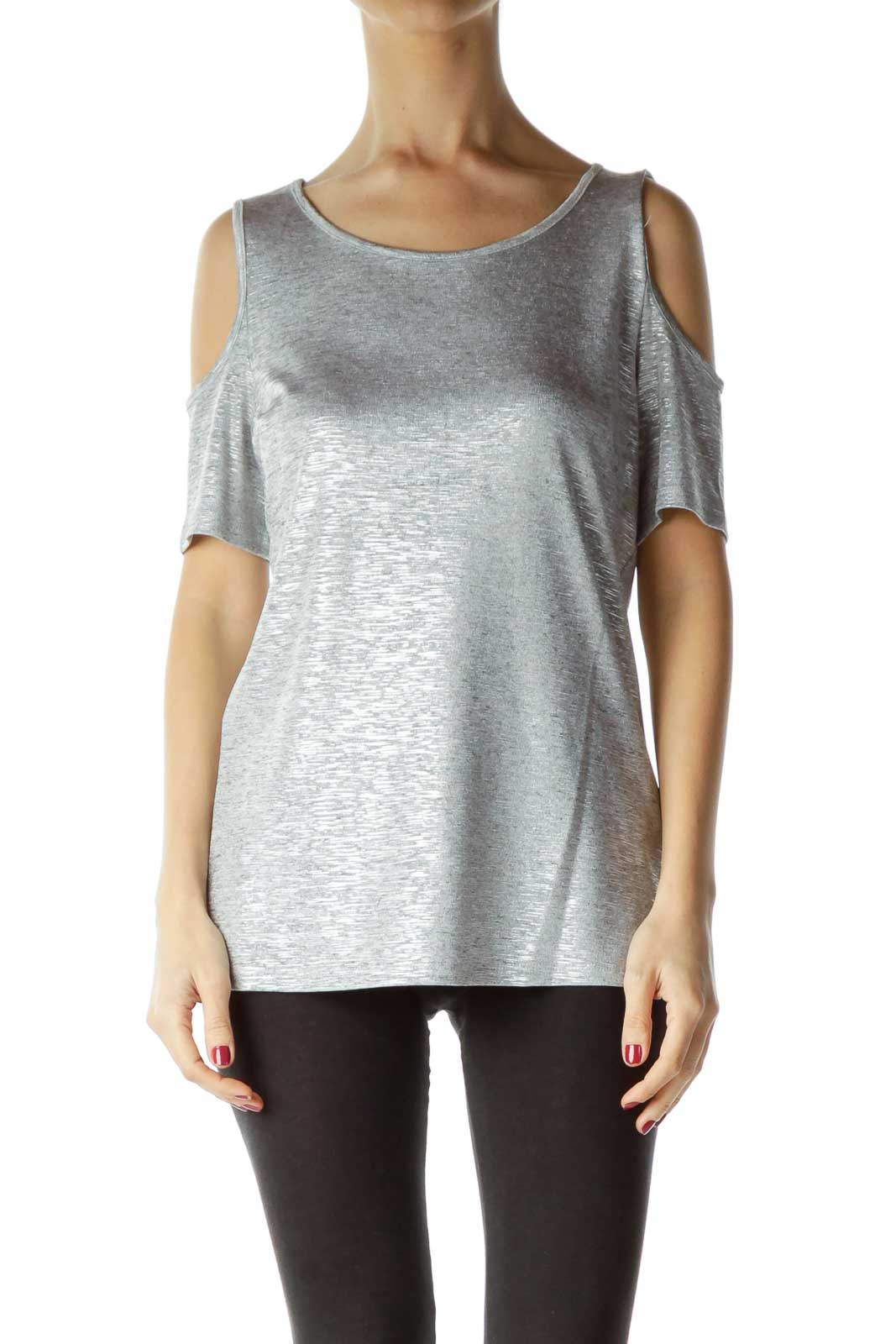Gray Shiny Cold Shoulder Top