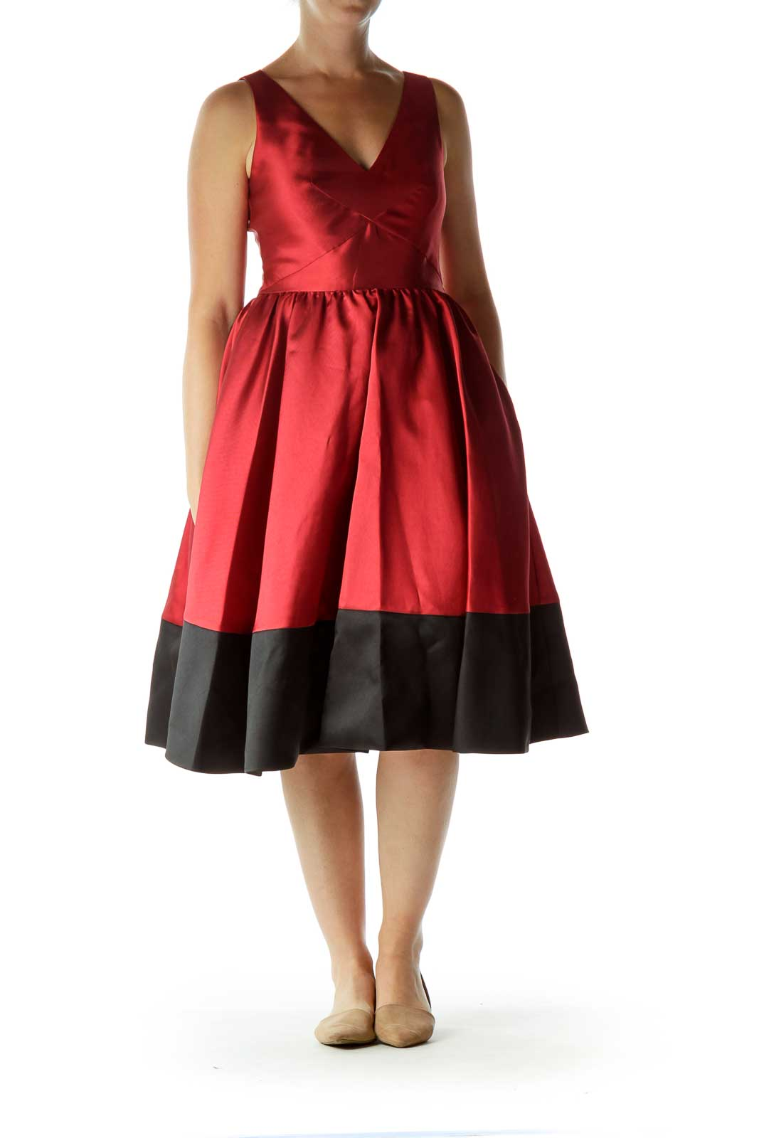 Red Black V-Neck Empire Waist Evening Dress