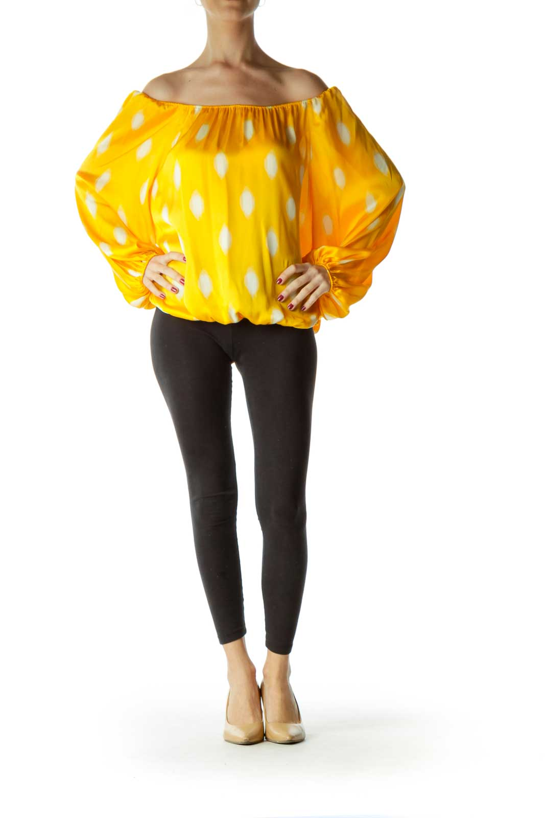 Yellow Print Boat Neck Blouse