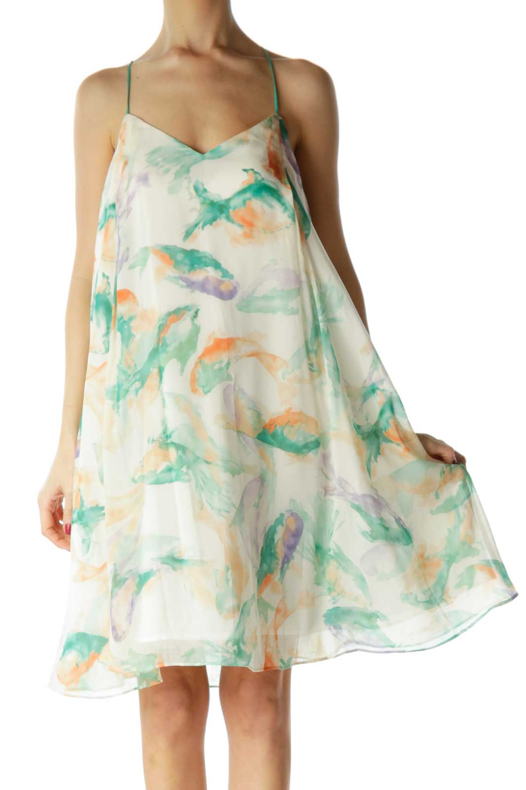 Beige Green Watercolor Day Dress