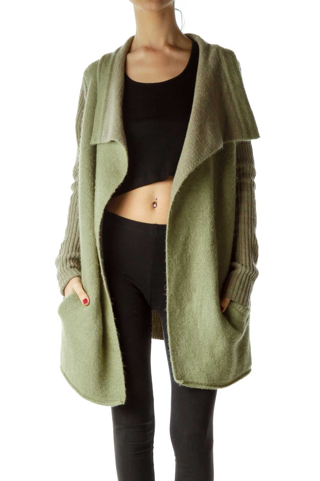 Green Chunky Knit Cardigan