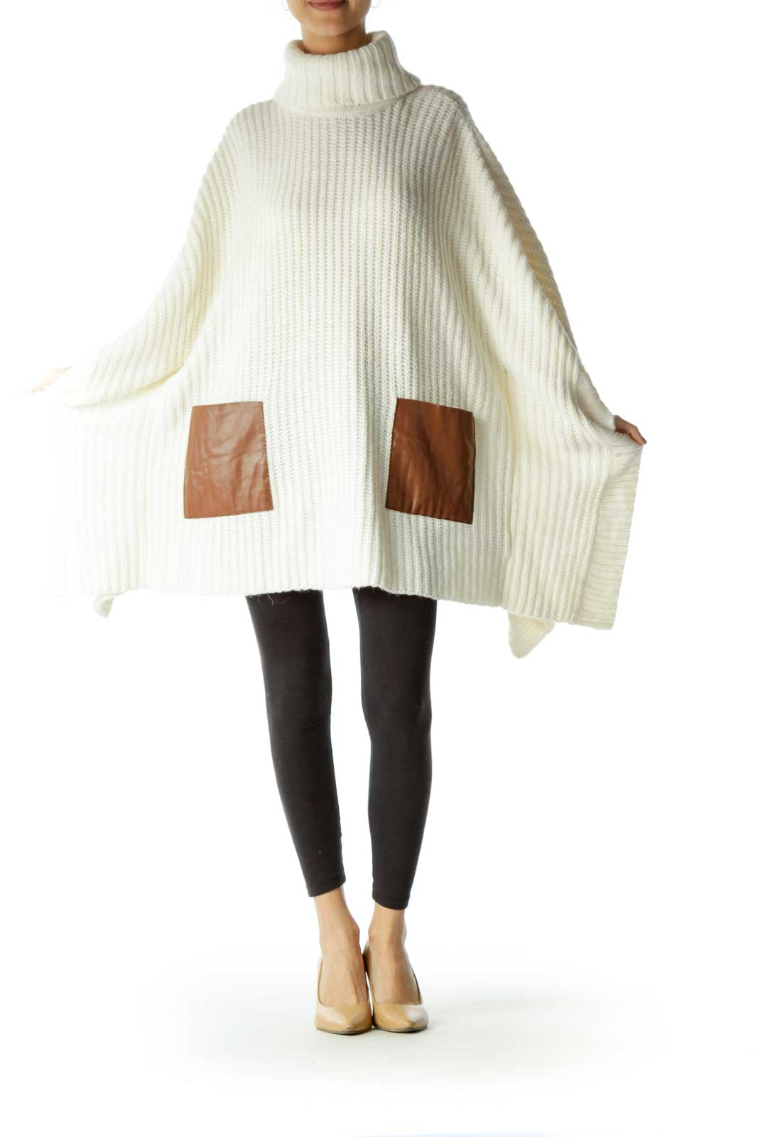 Cream Turtle Neck Knit Poncho