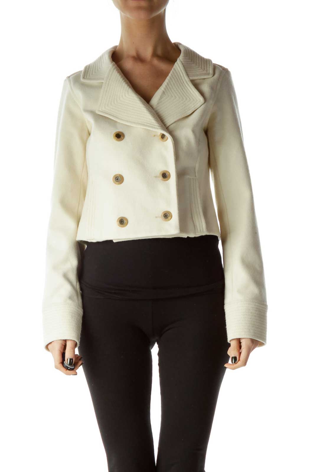 Cream Double Breasted Wool Coat