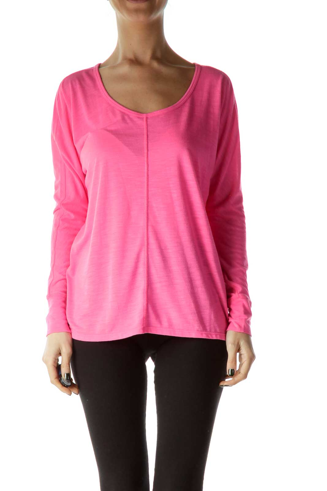 Pink Round Neck Long Sleeve Shirt