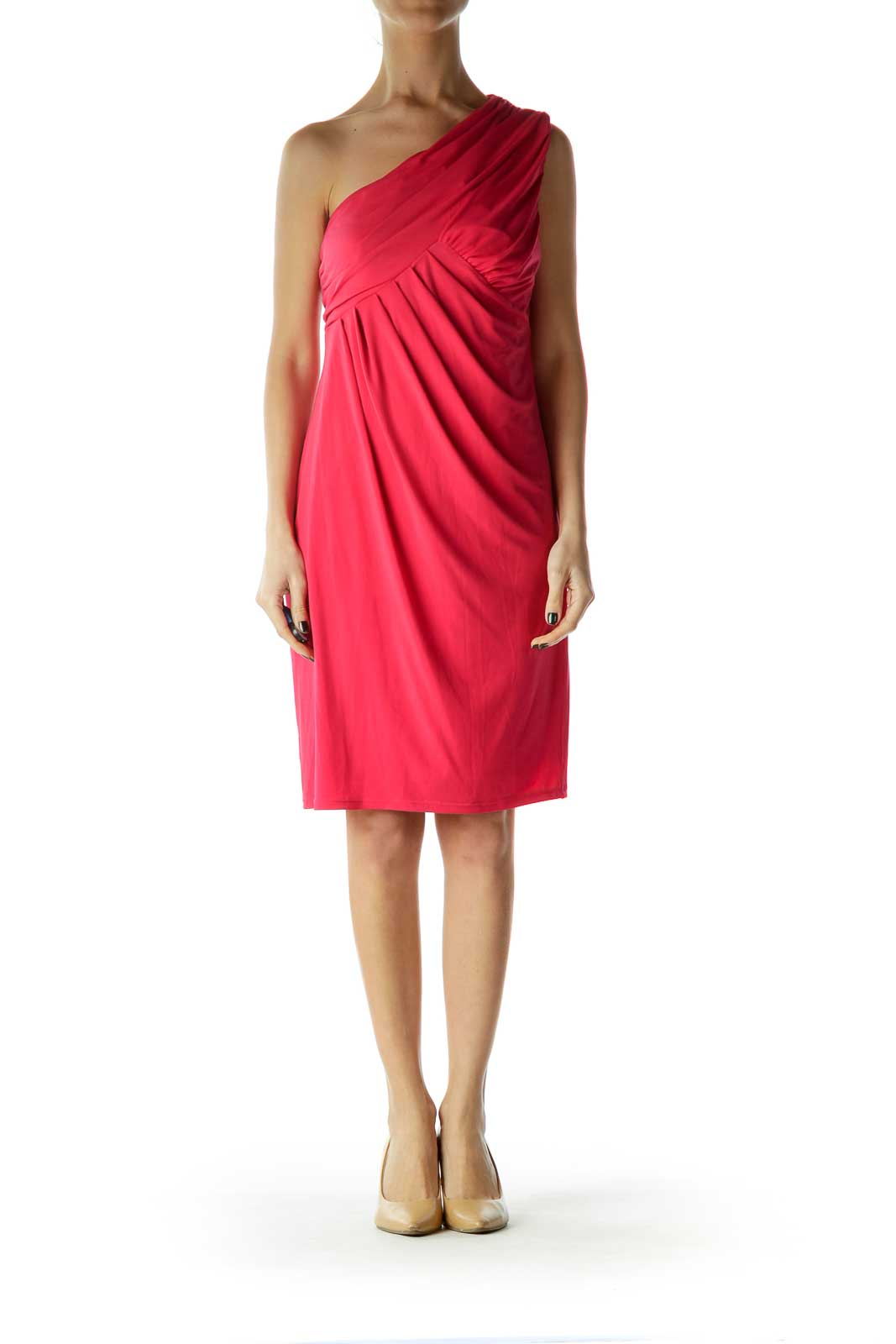 Pink One Shoulder Ruched Dress