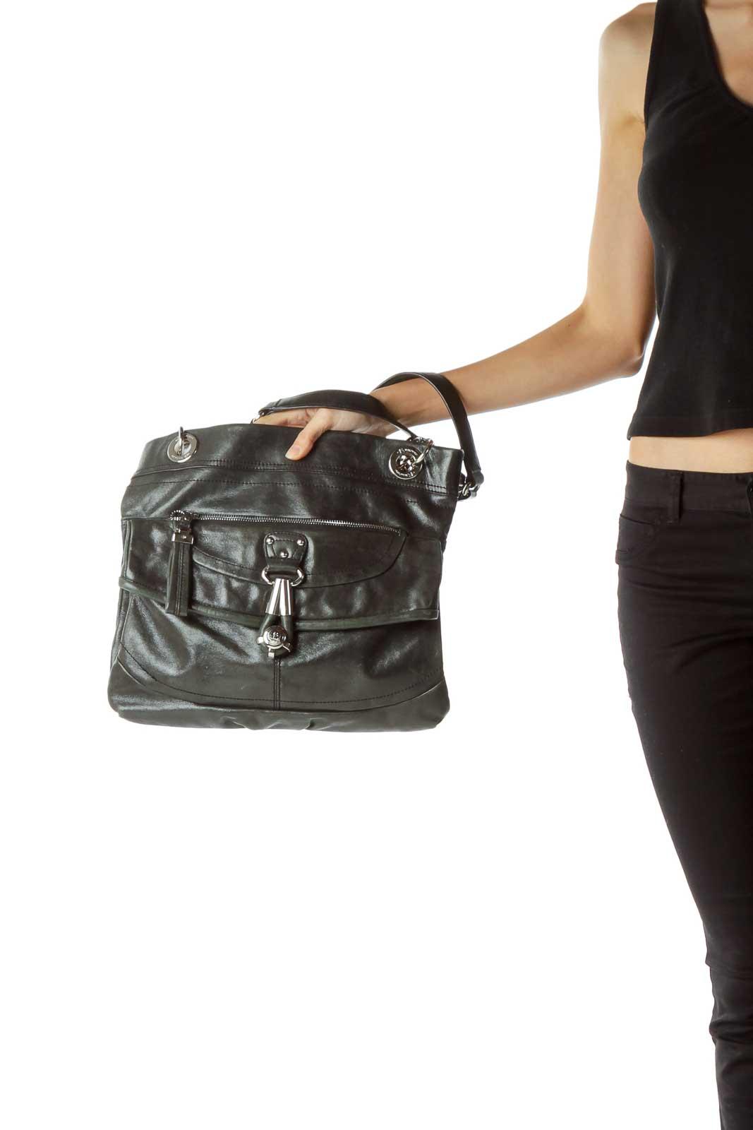 Black Metallic Leather Chain Detail Bag