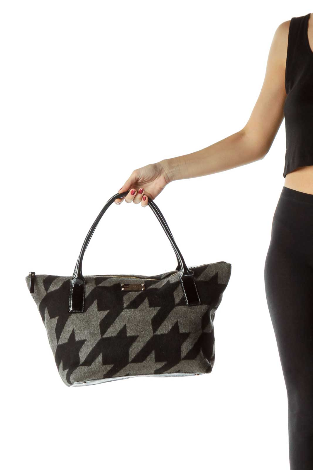 Black Gray Geometric Print Wool Tote