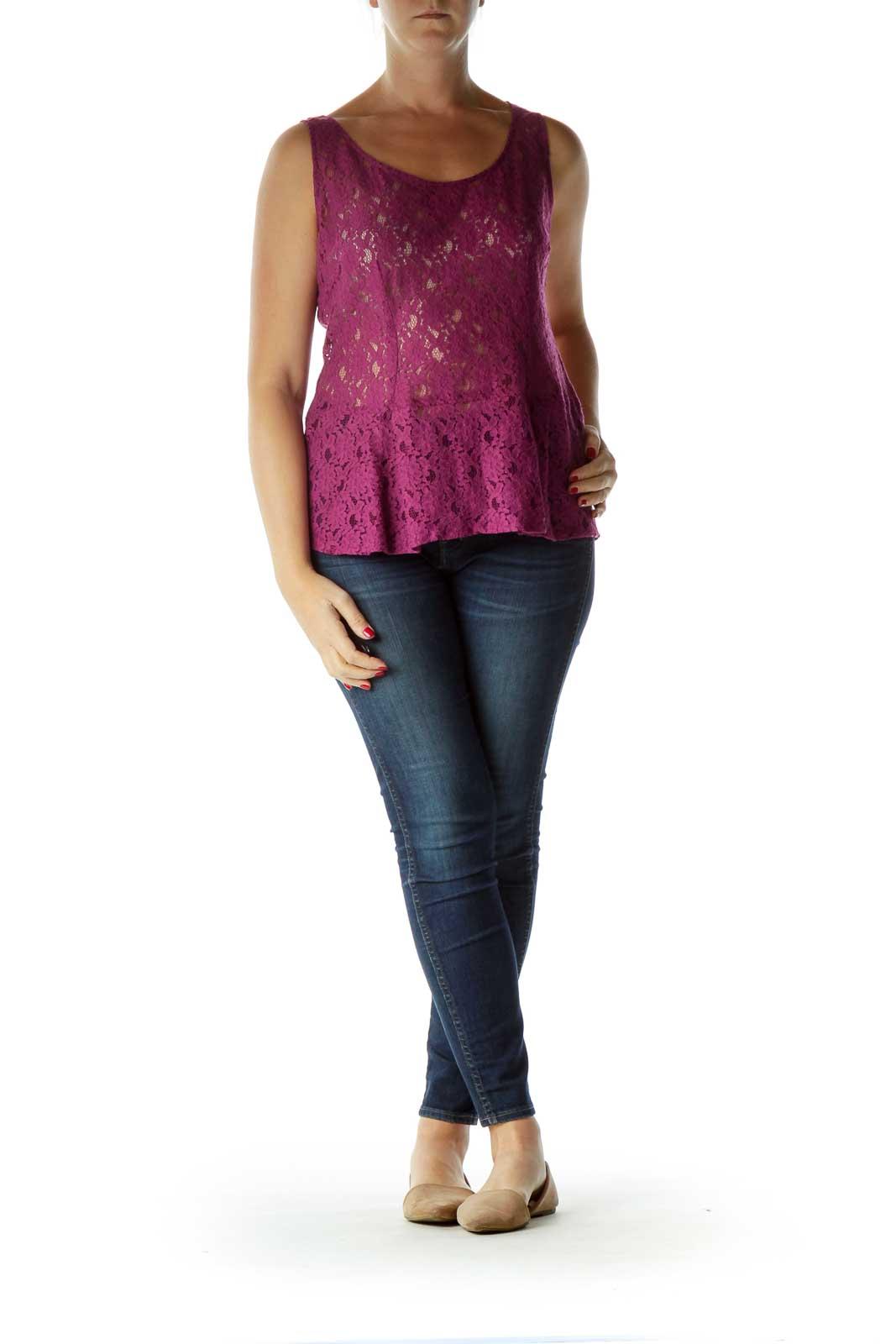 Purple Sleeveless Lace Peplum Blouse