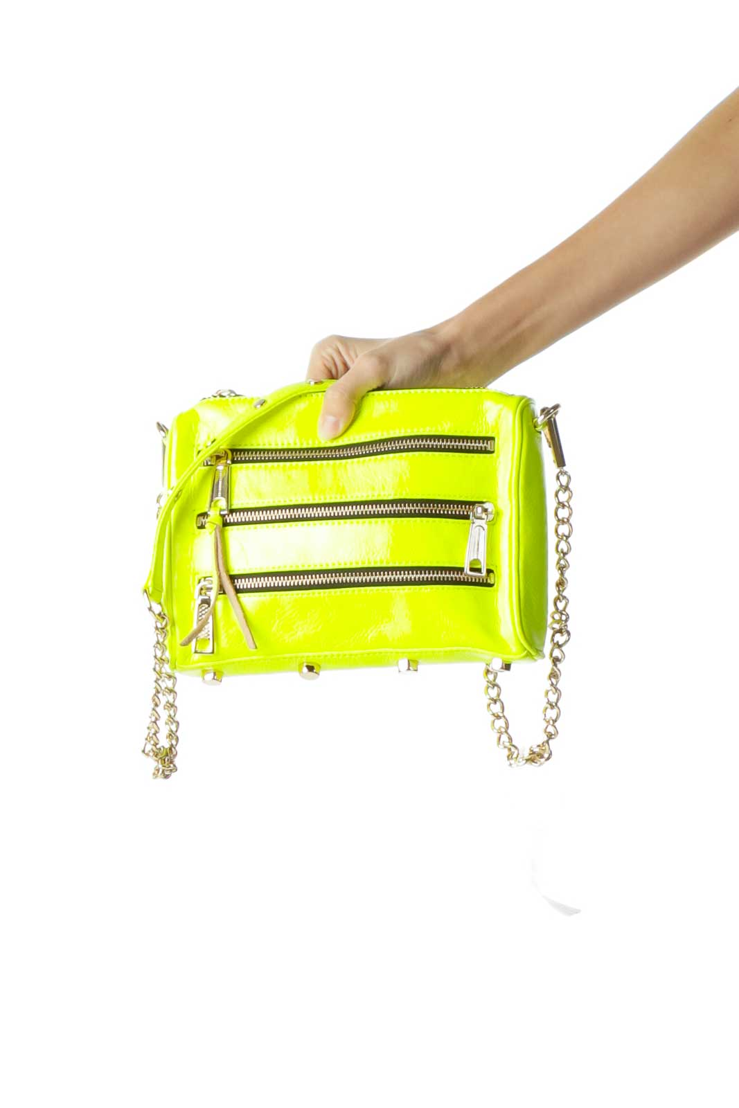 Neon Yellow Zipper Detailed Crossbody Bag