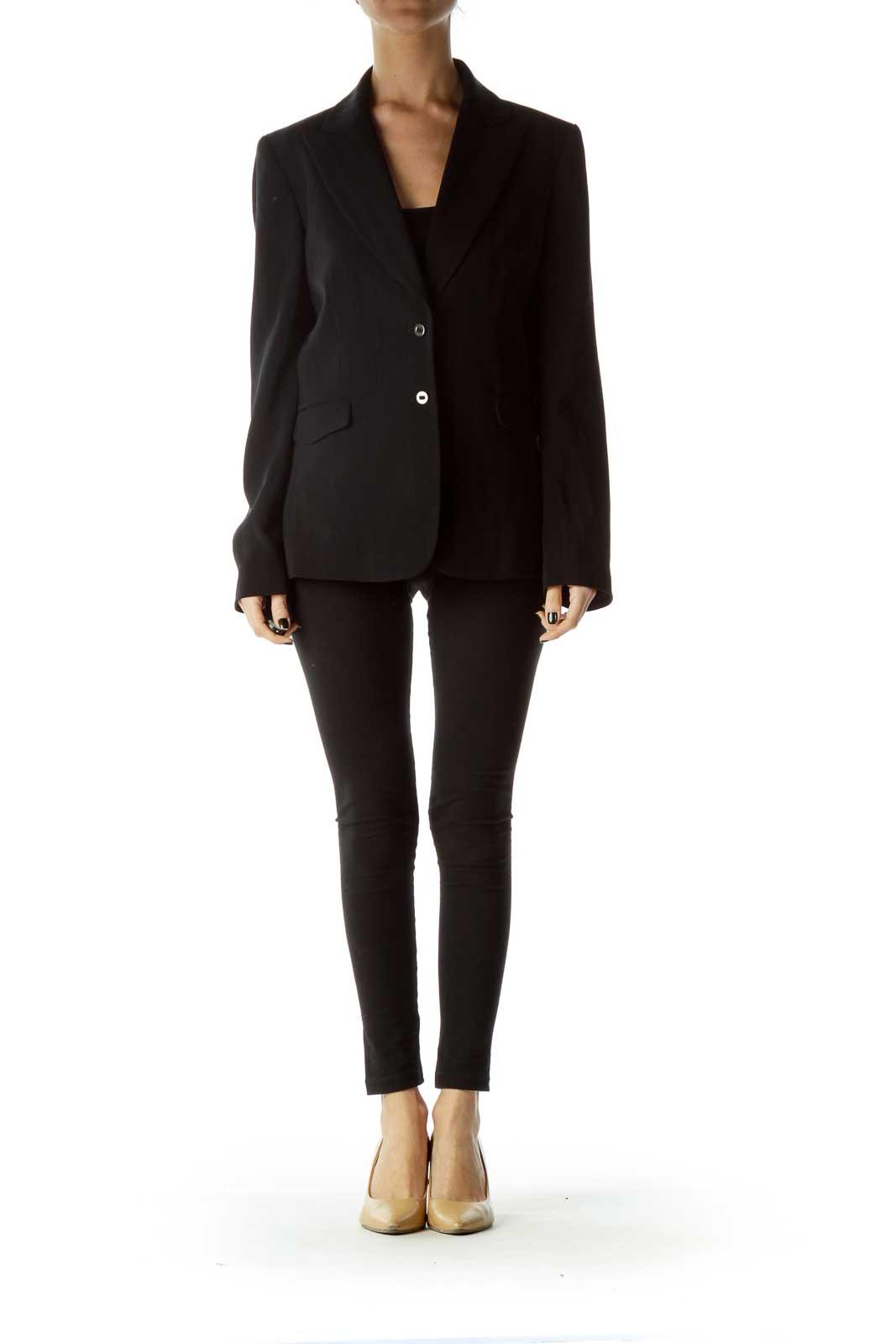 Black Pinstripe Buttoned Blazer