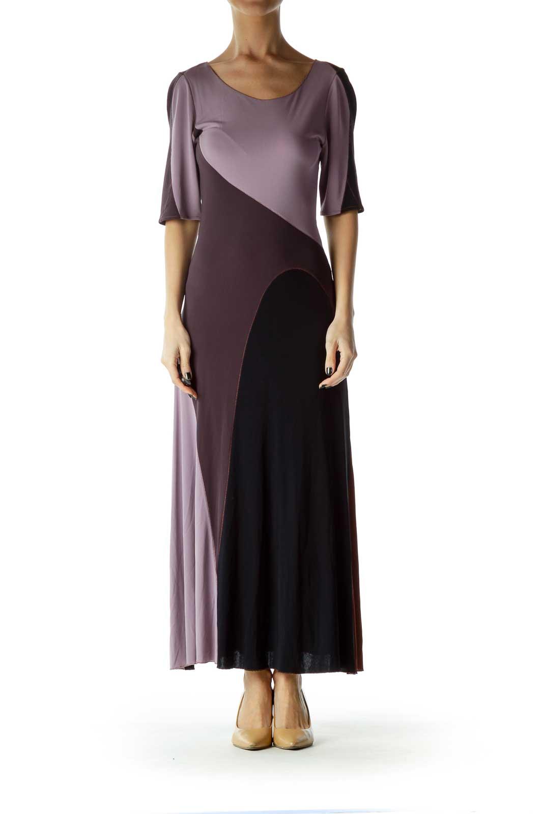 Purple Patchwork Maxi Dress
