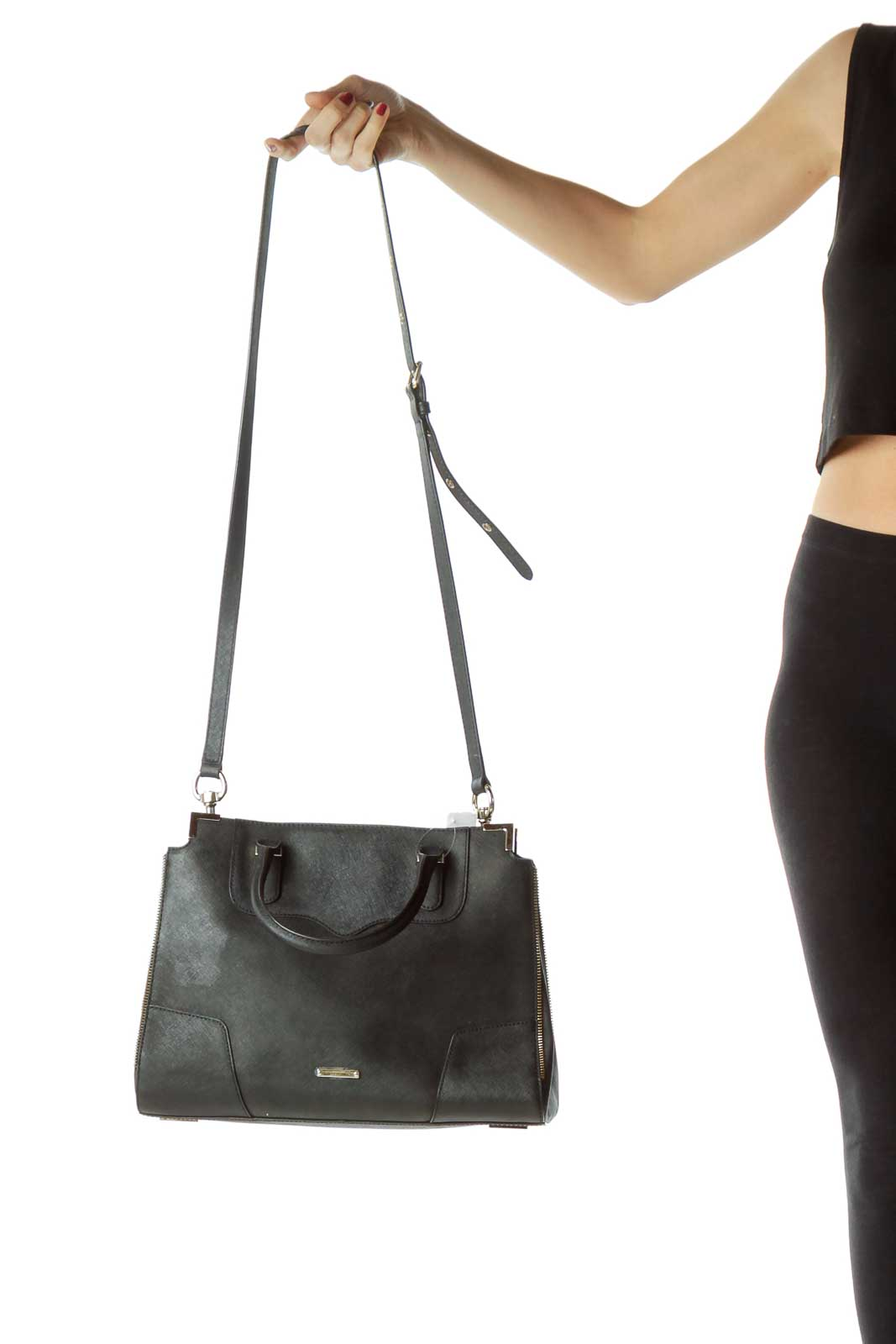 Black Zipper Detailed Leather Tote w Strap