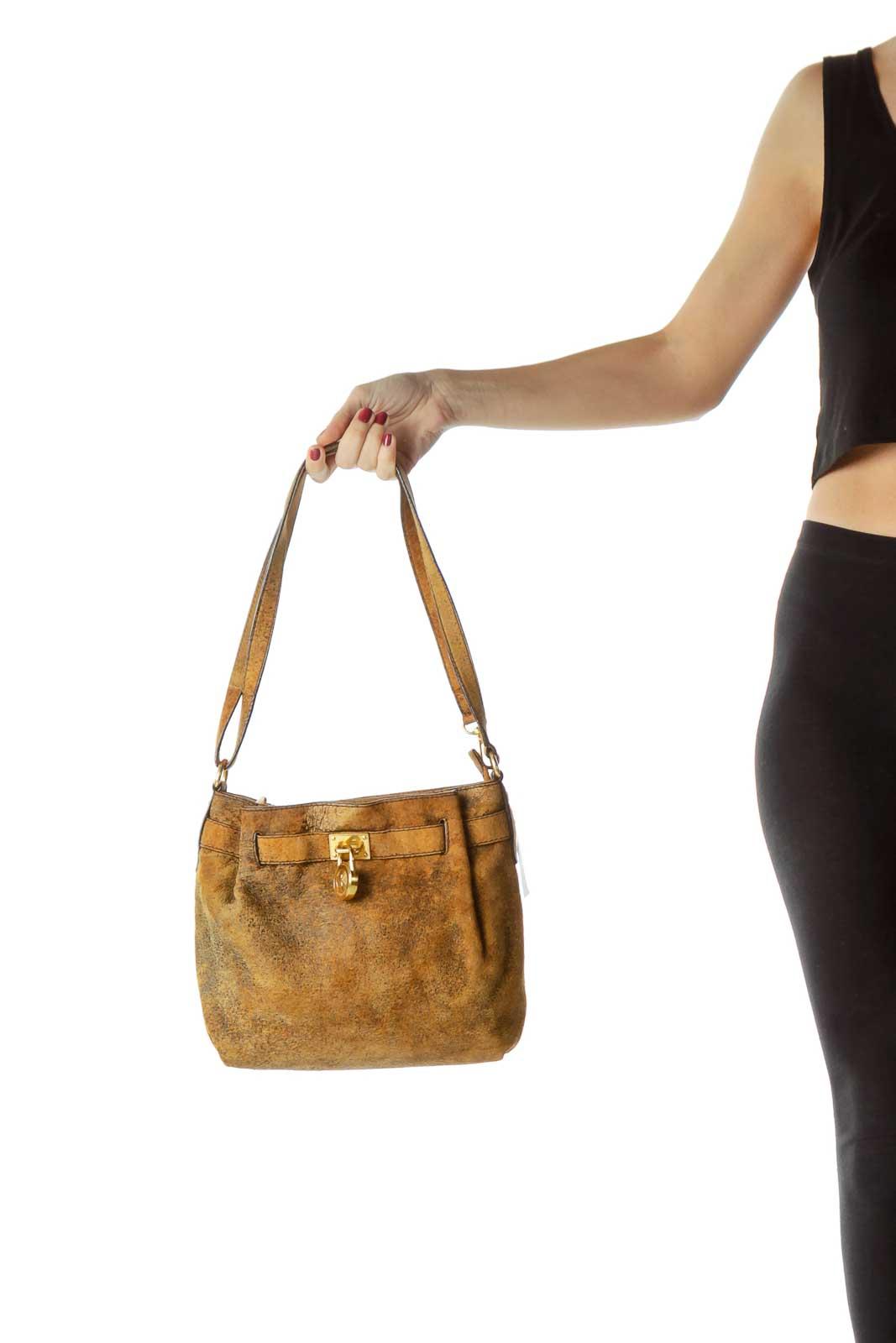 Brown Textured Leather Shoulder Bag
