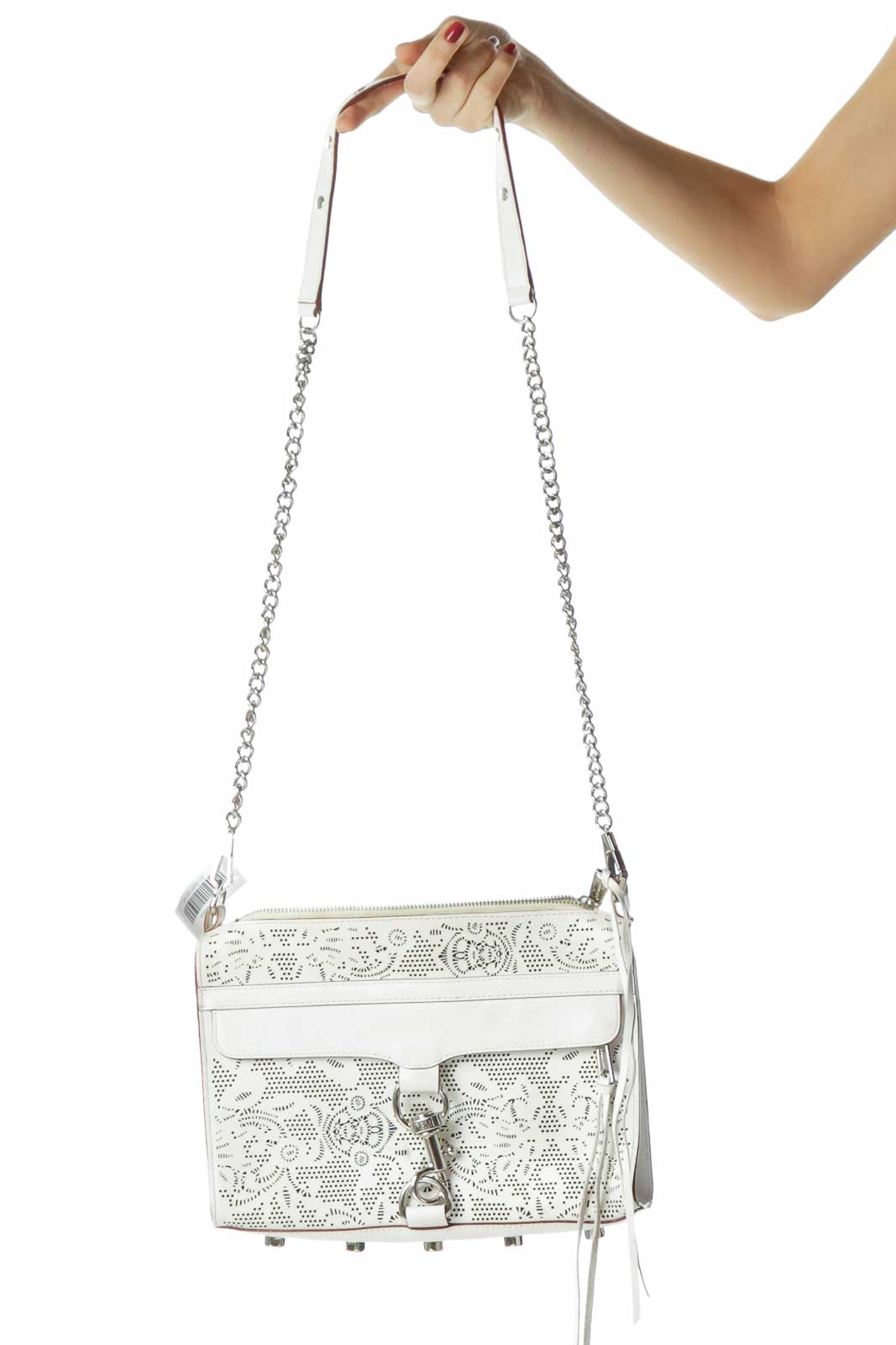 White Lazer Cut Print Crossbody Bag