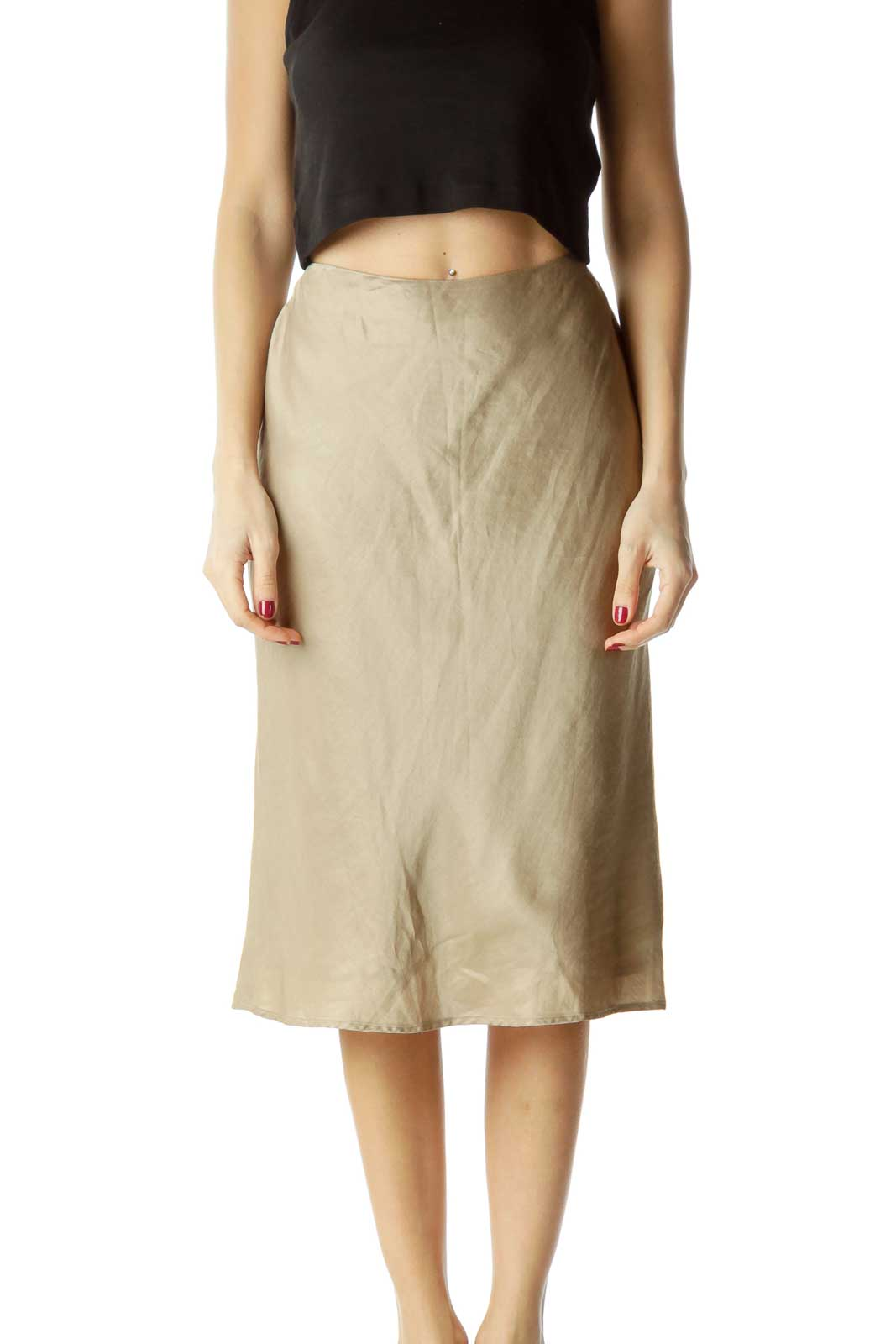 Metallic Cinched Waist Flared Skirt