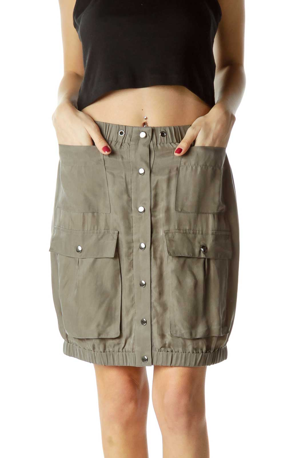Green Pocketed Mini Skirt