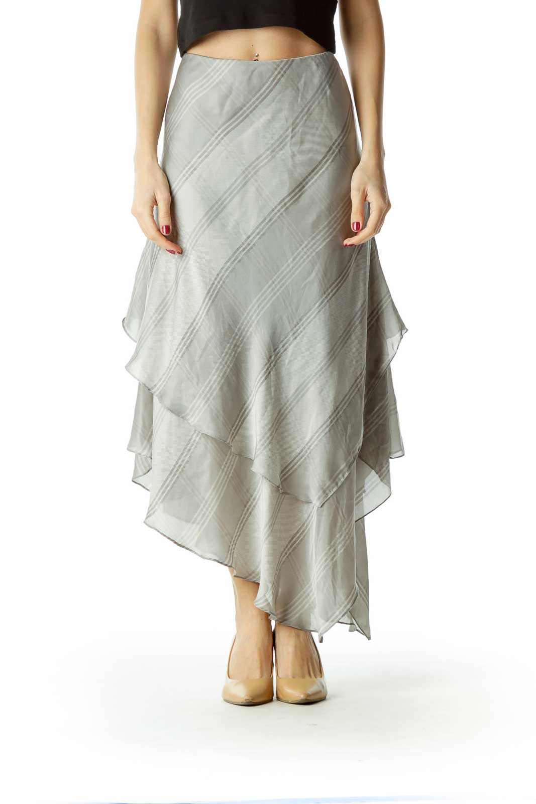 Gray Plaid Flared Silk Stretchy Skirt