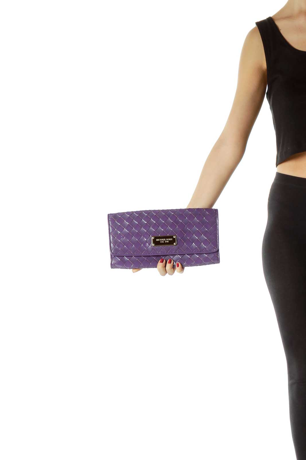 Purple Woven Patent Leather Clutch