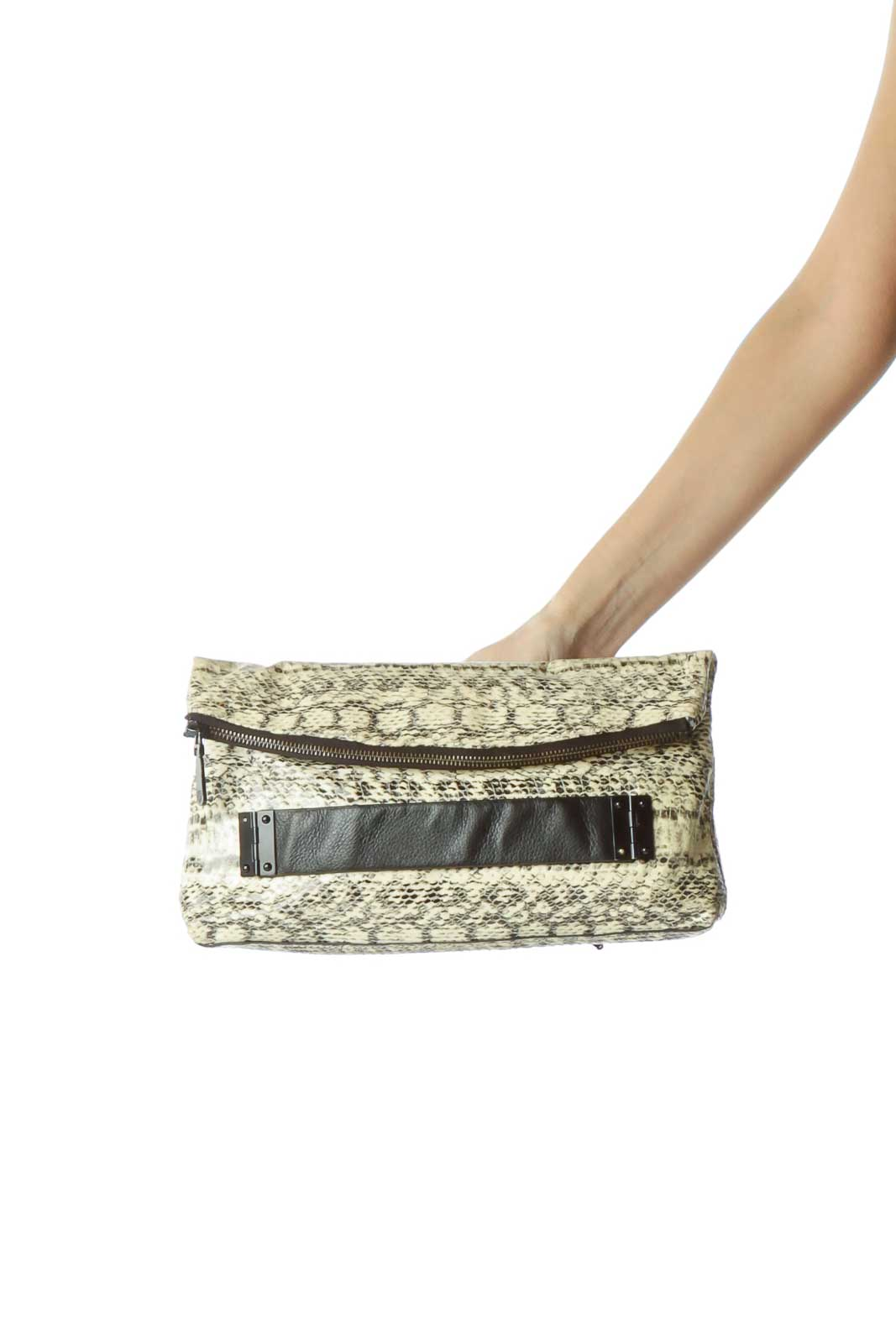 Black Cream Snake Skin Print Clutch