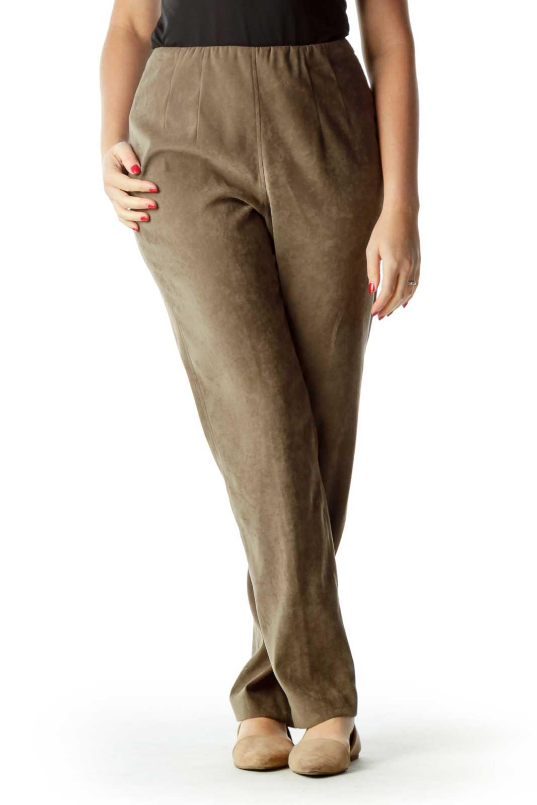 Brown High Waisted Straight Leg Pants