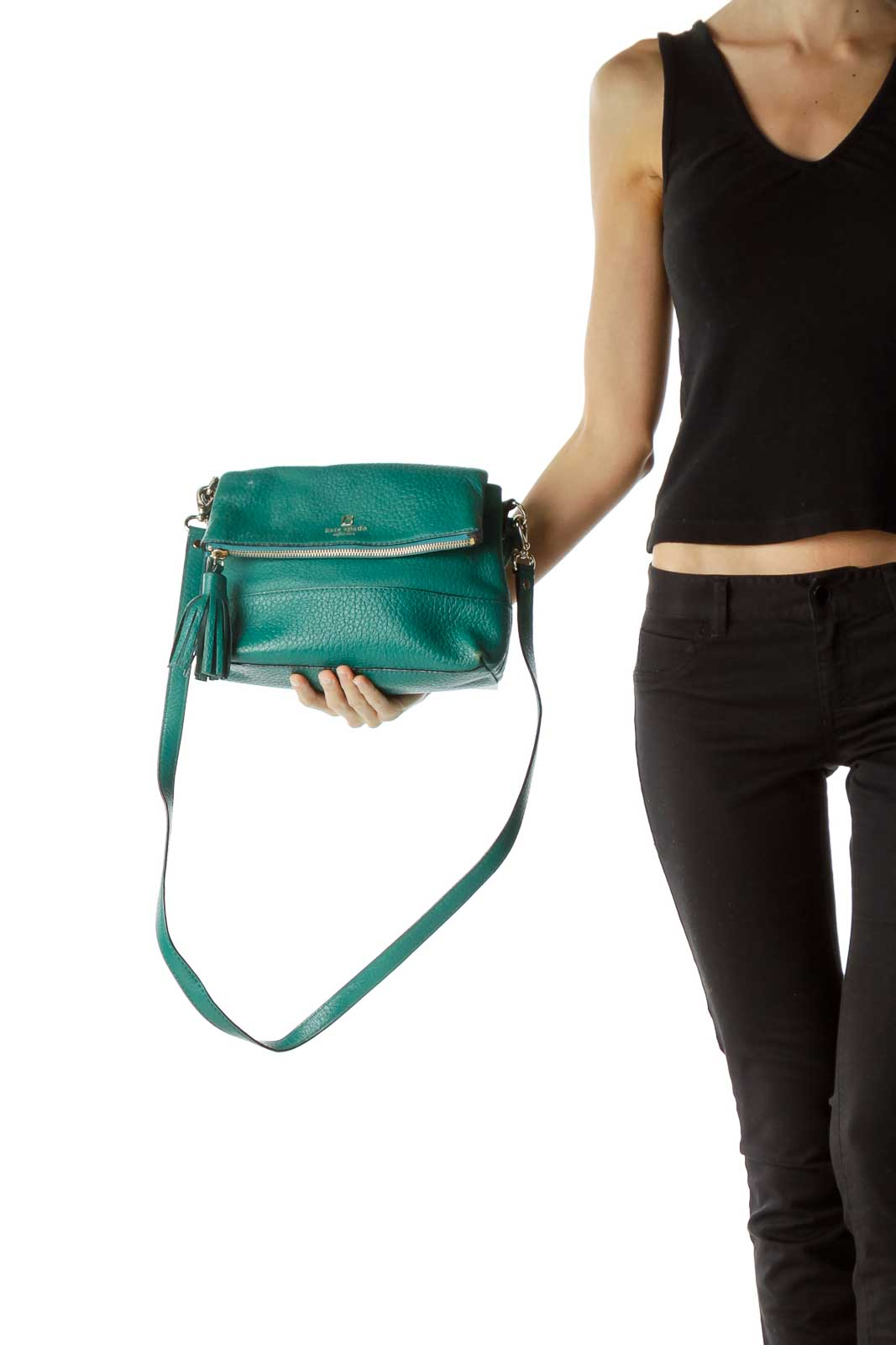Green Flap Leather Crossbody Bag