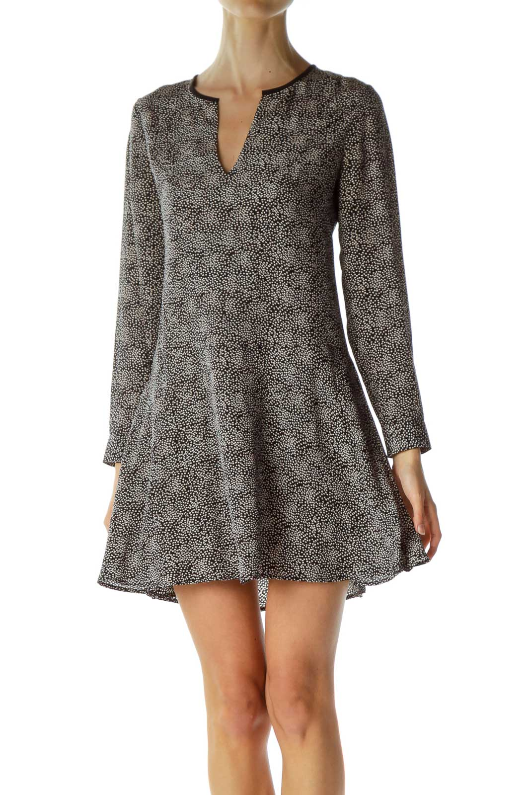 Black White Long Sleeve Work Dress
