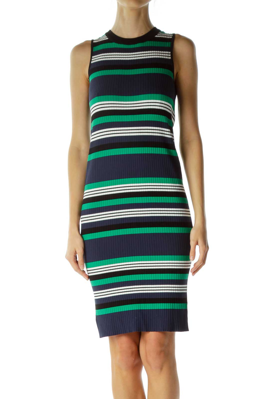 Green Navy Striped Sleeveless Knit Dress