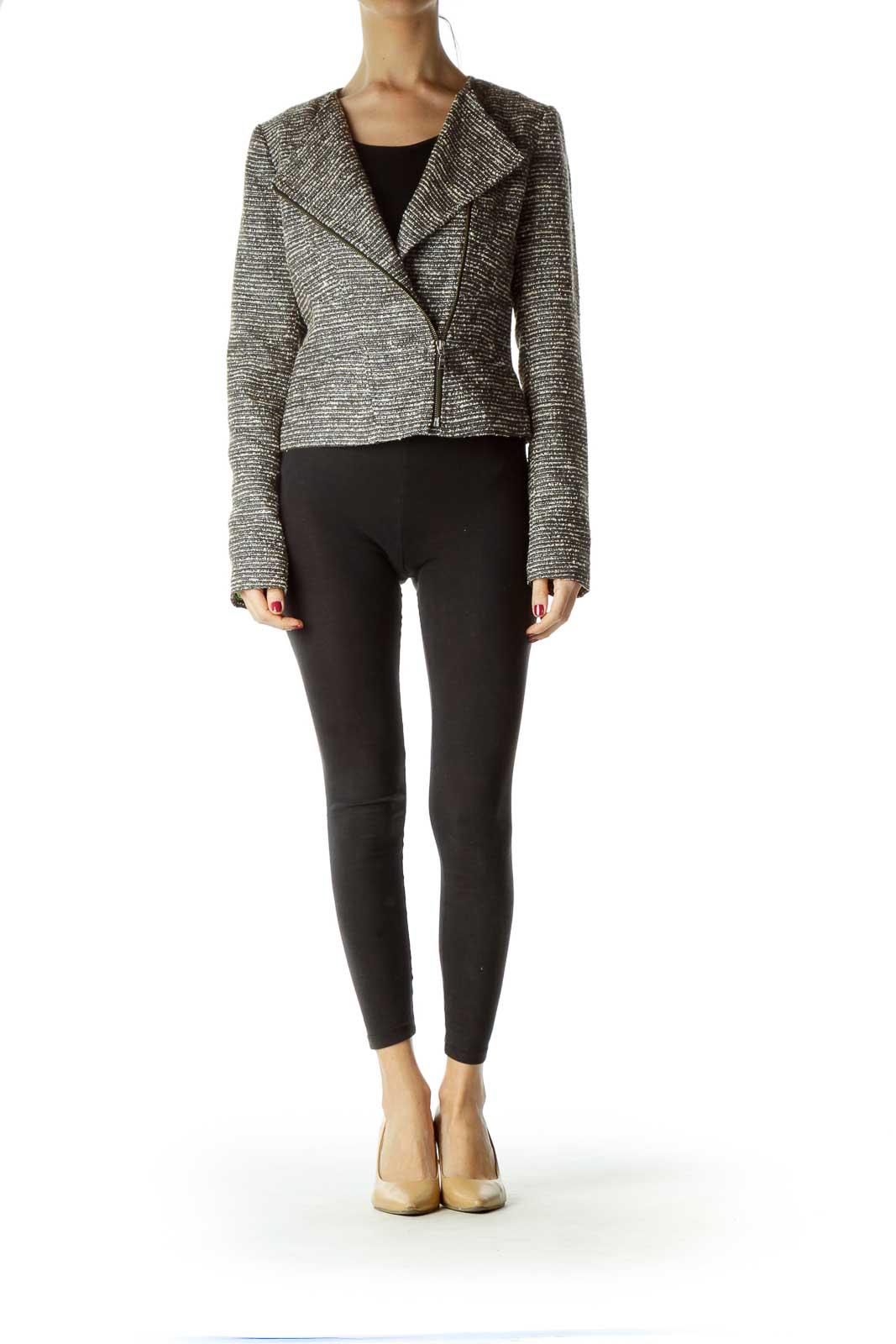 Brown Tweed Zippered Jacket