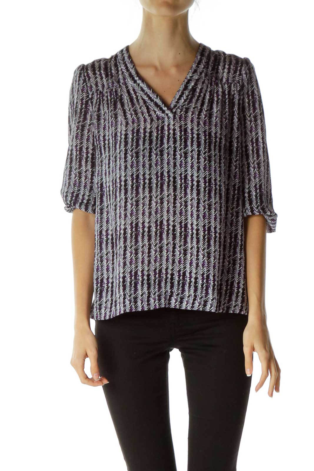Purple Print 3/4 Sleeve Silk Blouse
