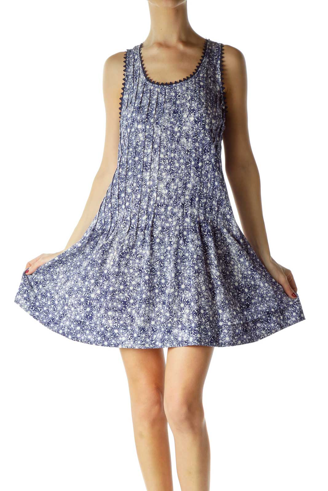 Blue White Print Silk Pleated Dress