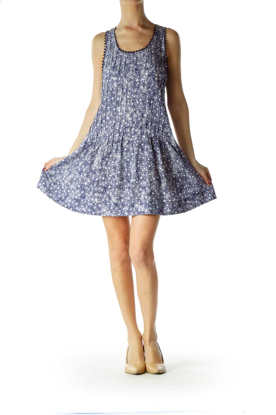 Blue White Print Silk Pleated Dress