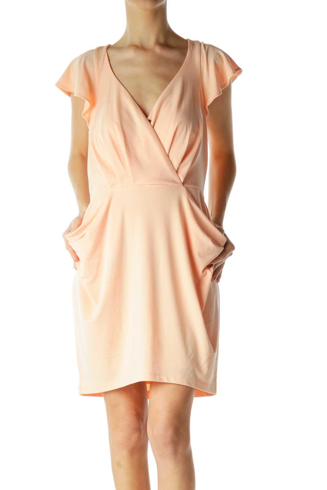 Orange Pocketed Surplice Cocktail Dress