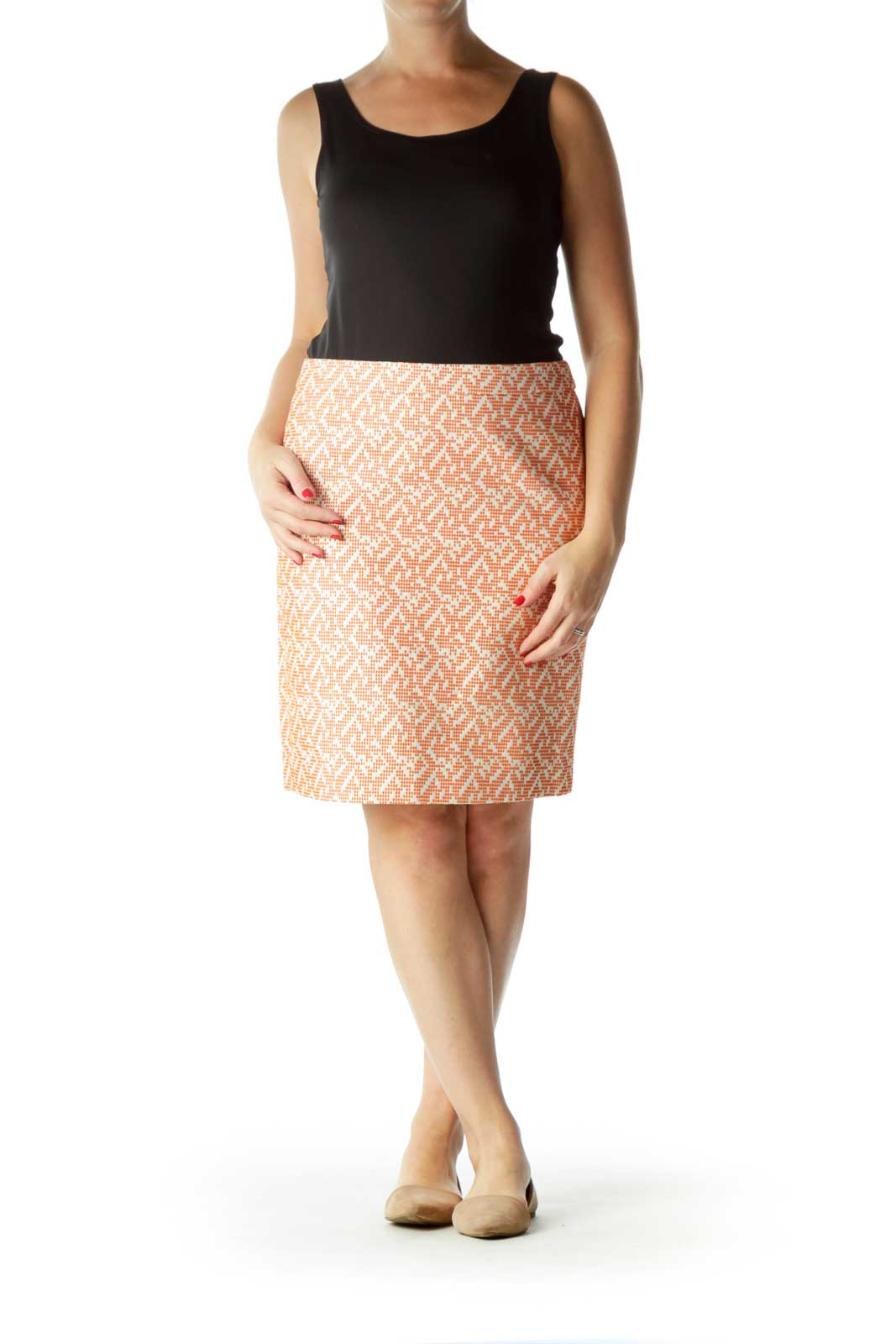 Orange Printed 100% Cotton A-Line Skirt