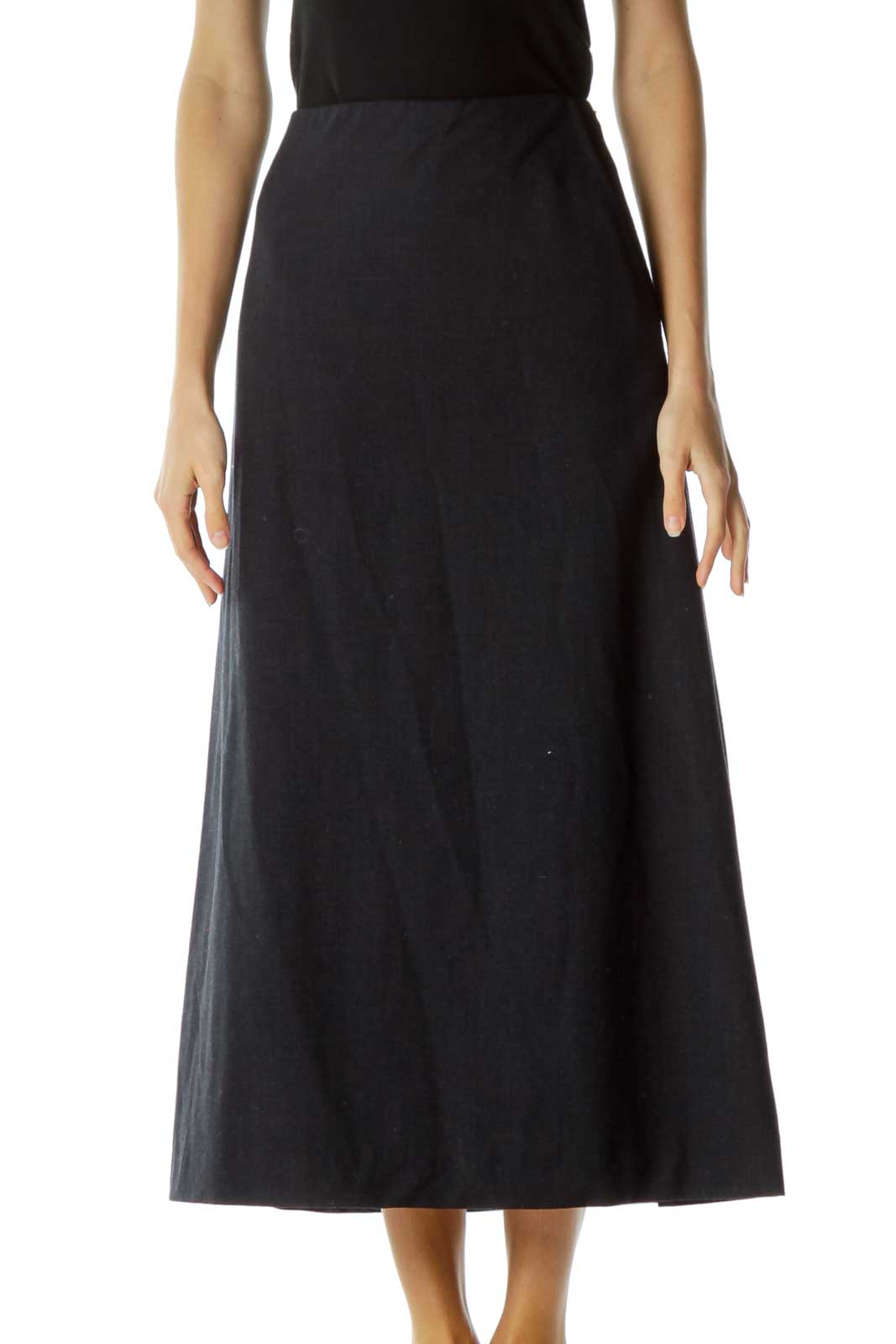 Blue Pocketed Long A-Line Skirt