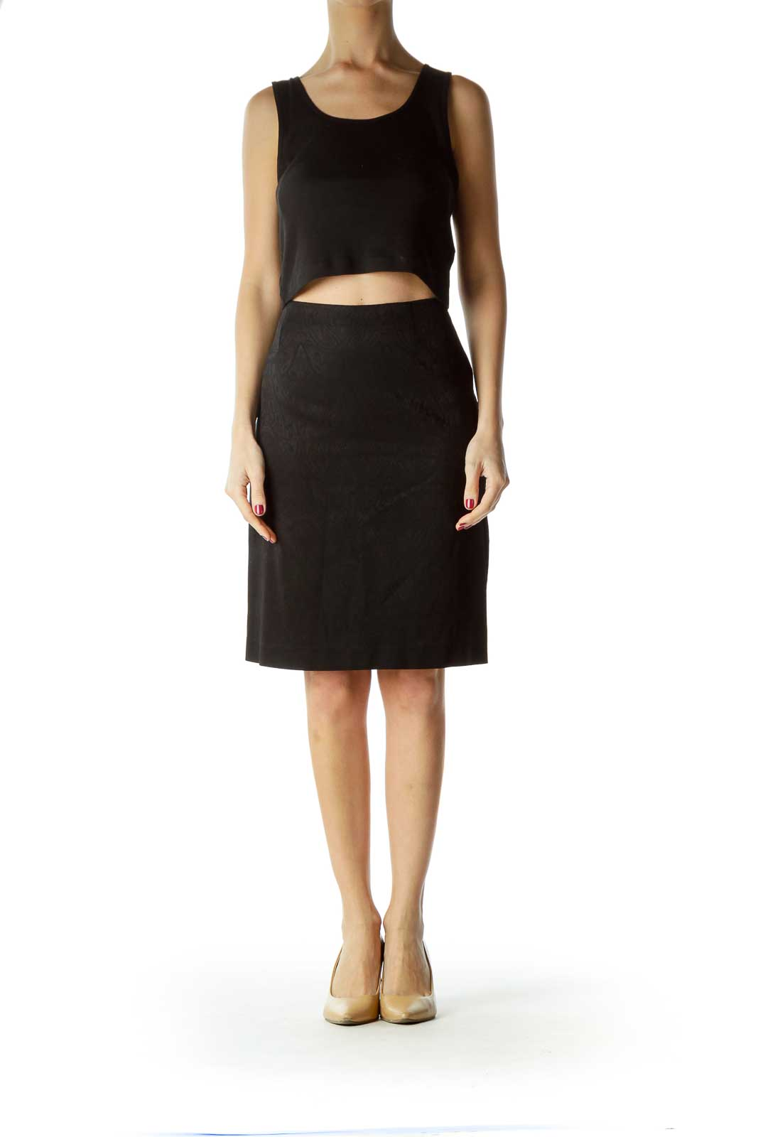 Black Printed Side-Zippered Pencil Skirt